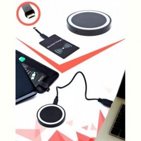 Аккумулятор беспроводной круглый для смартфонов с Micro USB разъемом, черный (Wireless portable accumulator (round) Micro USB, black) Bradex